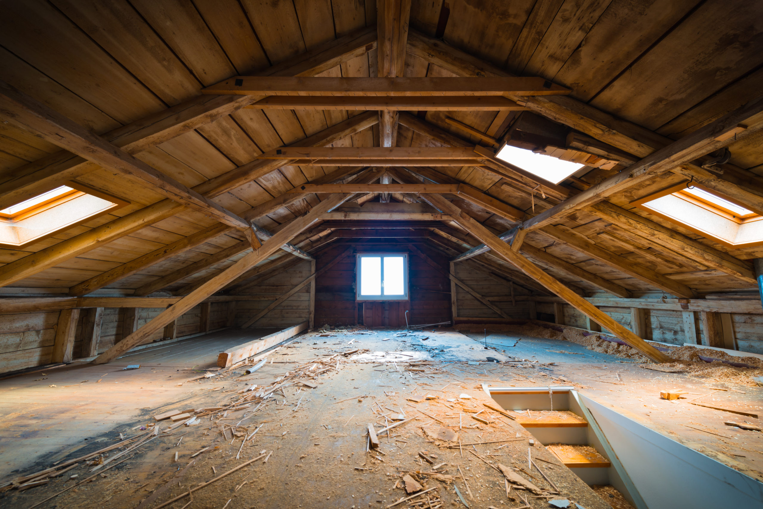 In the attic of a destroyed house.