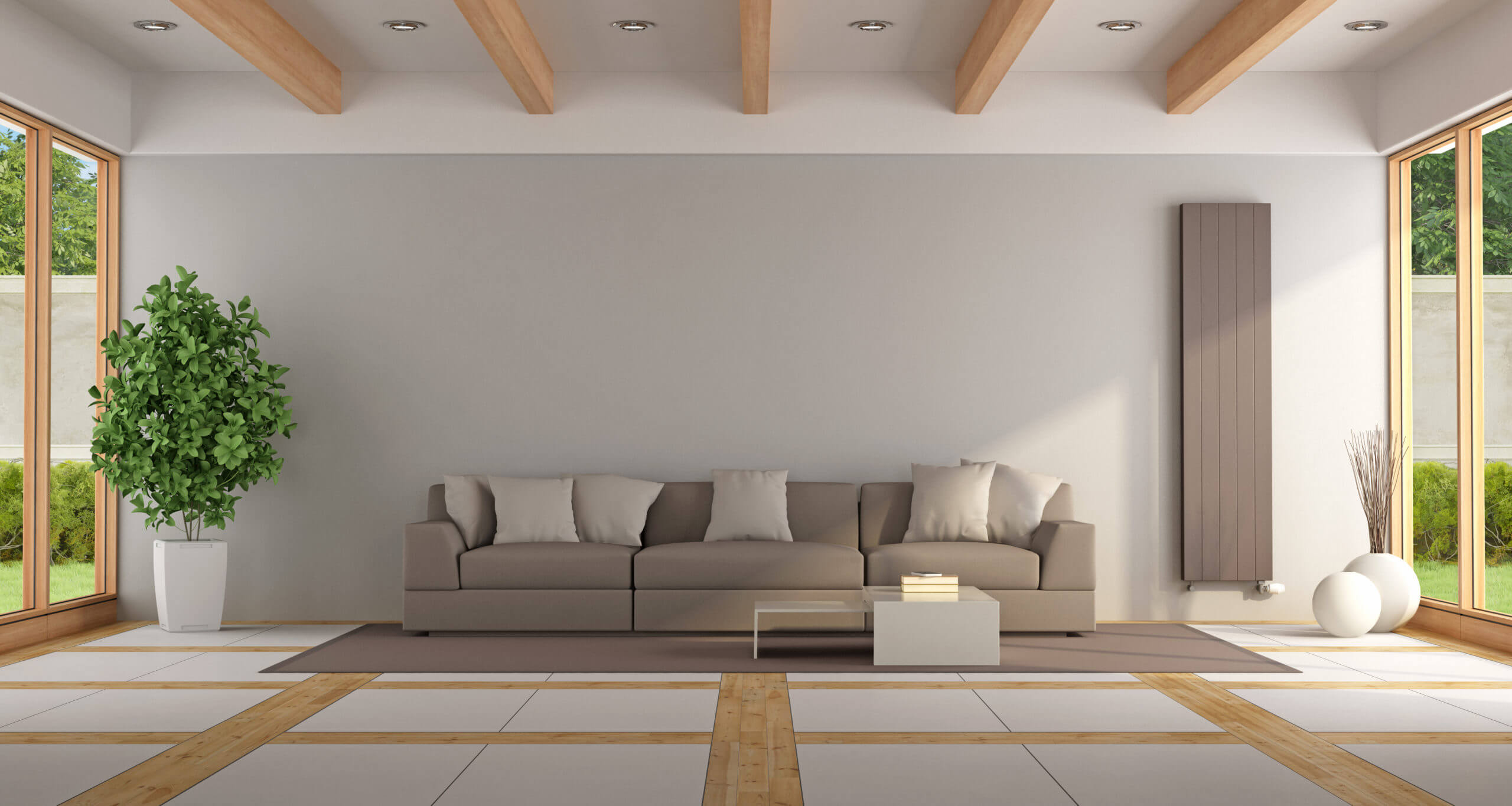 Contemporary lounge with brown sofa,windows and elegant floor - 3d rendering