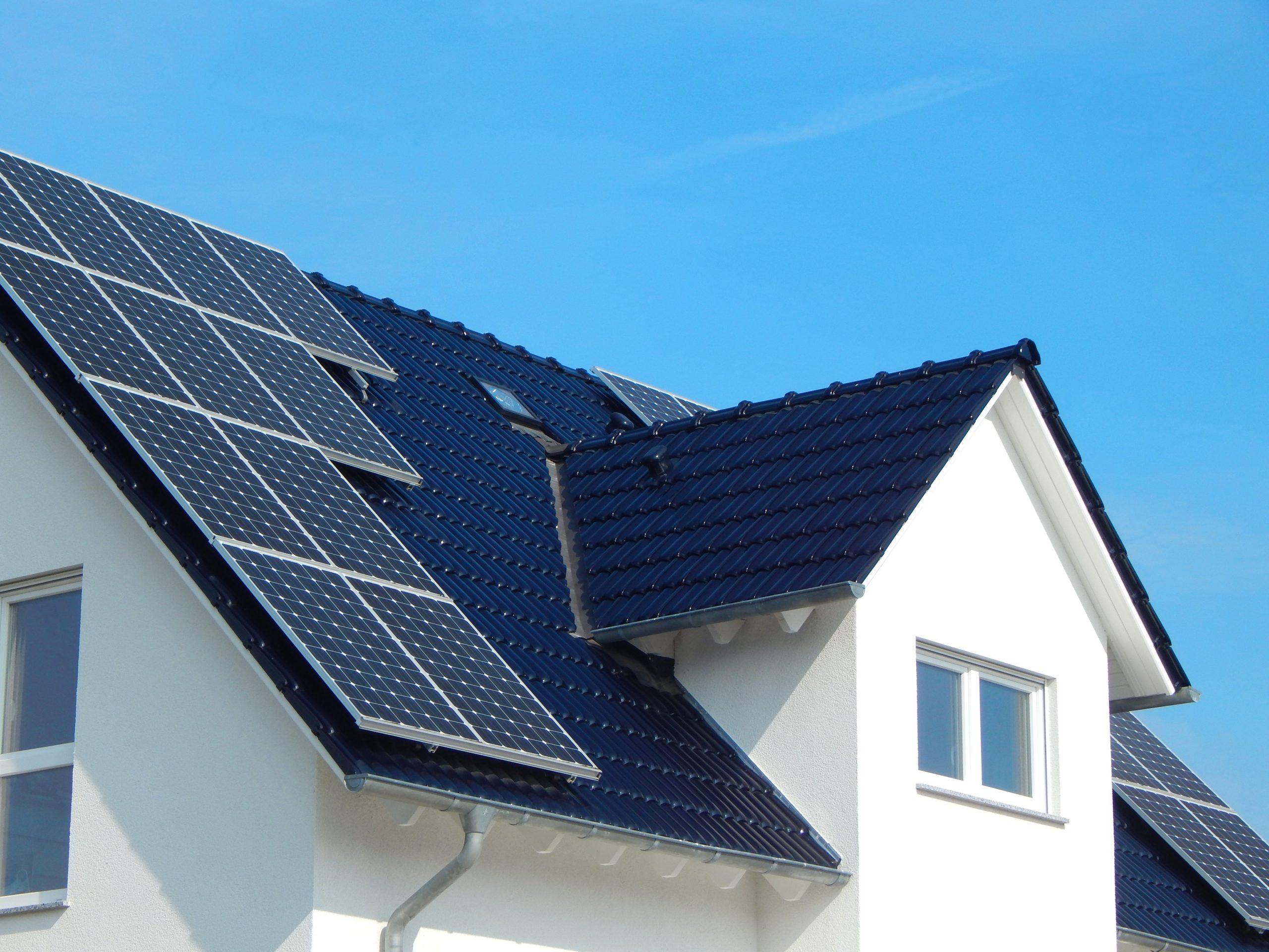 Solar energy: A Black tile roof with solar panels