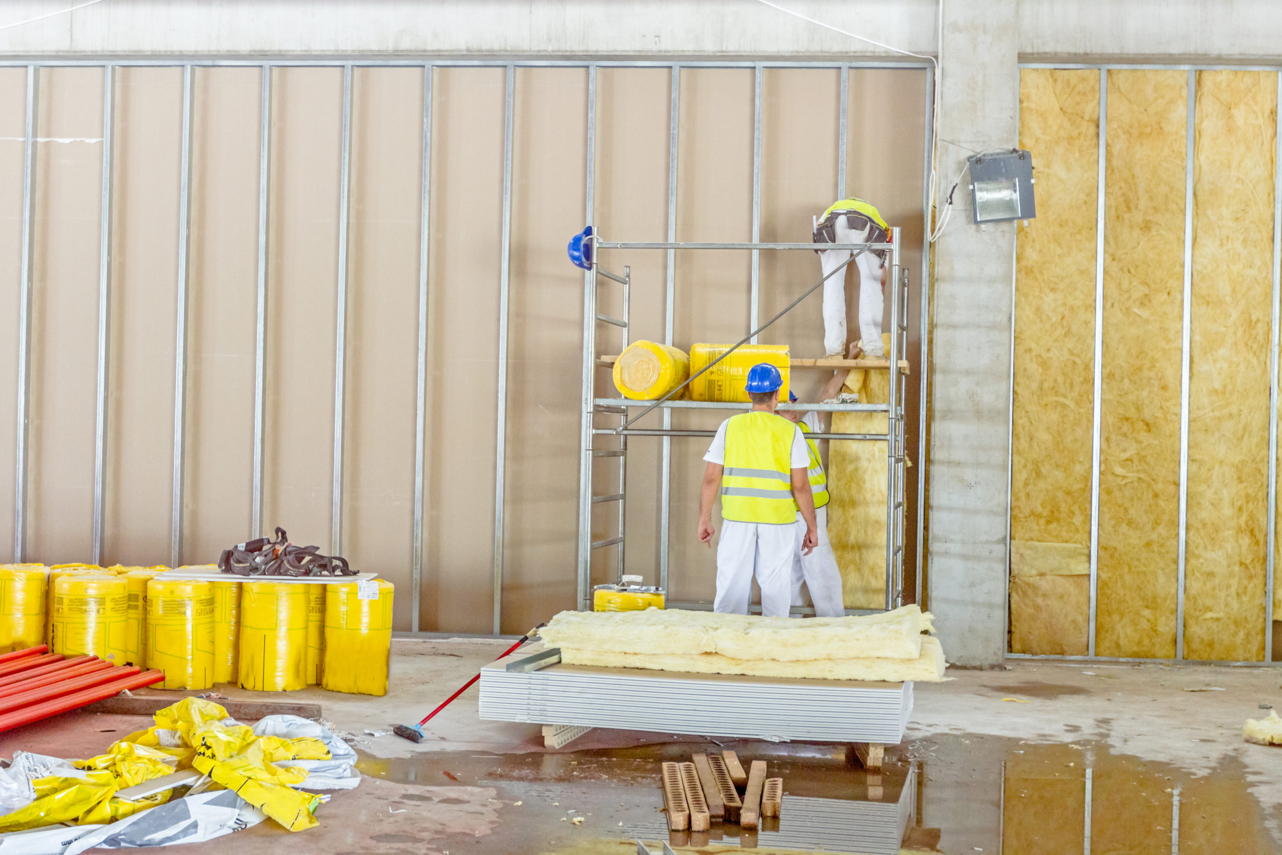 Zrenjanin, Vojvodina, Serbia – June 29, 2015: Building activities during construction of the large complex shopping mall